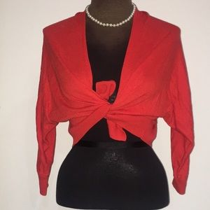 Red cropped Cardigan